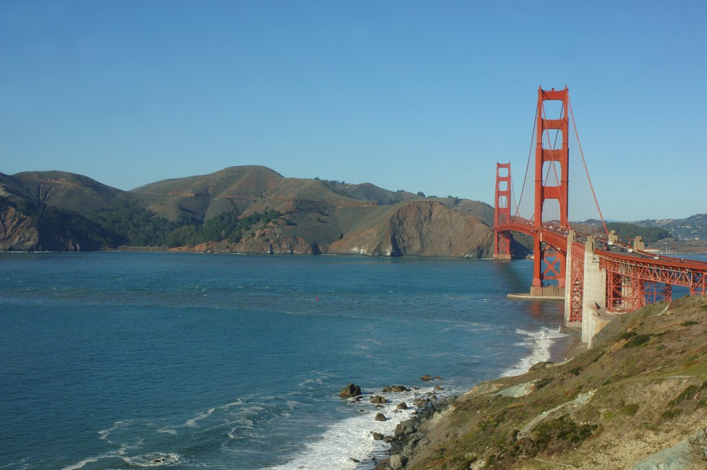 "A view across""the Gate"" to the Marin Headlands from San Francisco. What was once a deep gorge that drained a huge inland sea and the western slope of the Sierra is now inundated with over 300 feet of water by polar ice caps who have been melting since the peak of the last ice age."